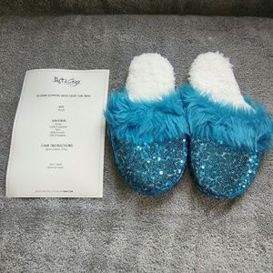 SOFT & COZY Sequin Slippers w/Faux Fur Trim